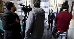 Italian foreign minister Luigi Di Maio  holding a press conference with a limited number  of reporters  at the Farnesina Palace in Rome. Photograph:  EPA/Ettore Ferrari