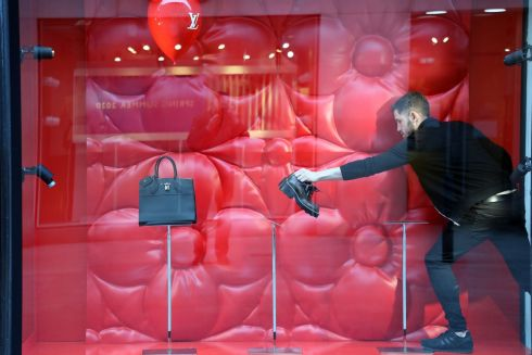 THE OTHER SHOE DROPS: Doors close on Brown Thomas, Grafton Street, Dublin. It, Arnotts and Penneys were among the major retailers to shut indefinitely on Wednesday in an effort to curb the spread of coronavirus. Photograph: Nick Bradshaw
