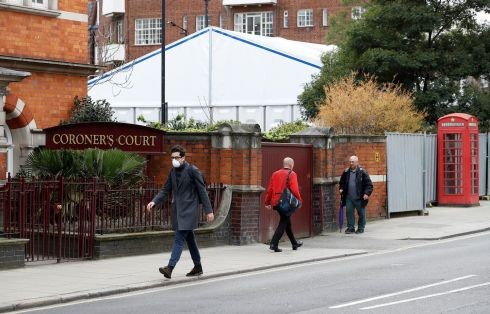 SIGN OF THE TIMES: A white structure, described by local media as a temporary mortuary, is seen in the grounds of Westminster Coroner's Court in London. Photograph: Peter Nicholls/Reuters