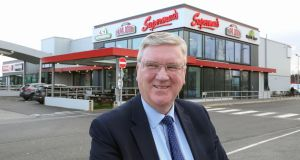 Supermac's founder Pat McDonagh outside Supermac's at the Galway Plaza. Photograph: Joe O'Shaughnessy