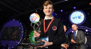Adam Kelly from Skerries Community College winning the 2019 BT Young Scientist of the Year. Photograph: Aidan Crawley