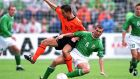 1/9/2001 World Cup QualifierRepublic of Ireland vs HollandRoy Keane of Ireland tackles Marc Overmars of HollandMandatory Credit ©INPHO/Billy Stickland