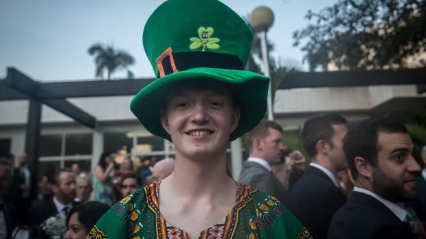 A young attendee pictured at the St Patrick's Day gala ball in the Sheraton Hotel in Kampala. Photograph: Sally Hayden