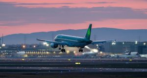 An Aer Lingus plane lands at Frankfurt Airport, Germany this week. Photograph: Thorsten Wagner/EPA