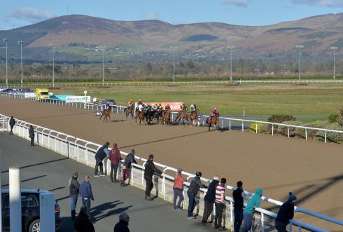 QUIET DAY AT THE RACES: The Dundalk Race & Stay Handicap at Dundalk Stadium, which took place without members of the public present. Photograph: Alan Betson