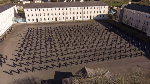 NEW GUARD: A drone picture of 319 new Gardai during an attestation ceremony at the Garda Training College in Templemore, Co Tipperary. Photograph: Mark Condren/PA Wire