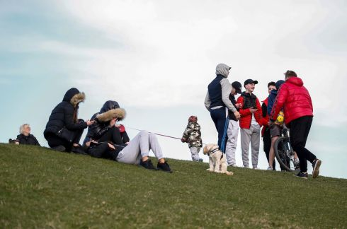 NO DISTANCE: Groups of people socialise at the Papal Cross in Phoenix Park, Dublin. Photograph: Crispin Rodwell
