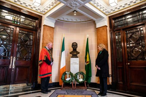 MACCURTAIN MEMORIAL: Pictured at a wreath-laying ceremony for former Lord Mayor of Cork, Tomas MacCurtain, are Lord Mayor of Cork, Cllr John Sheehan, and Fionnuala MacCurtain, MacCurtain's grand-daughter. Photograph: Clare Keogh