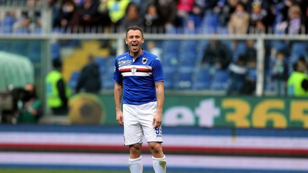 Antonio Cassano on duty for Sampdoria in 2016. Photograph: Gabriele Maltinti/Getty
