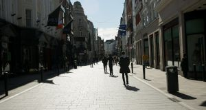 A quiet Grafton Street due to Covid-19  in Dublin's city centre. Photograph: Gareth Chaney/Collins