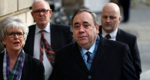 Alex Salmond arriving at the high court in Edinburgh on Monday, as he was cleared on 13 charges of sexual offences against nine women. Photograph: Andrew Milligan/PA Wire