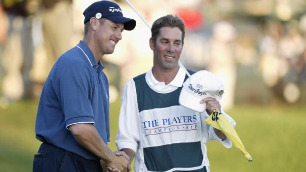 New Zealand's Craig Perks celebrates his win at The Players Championship at Sawgrass in 2002 with caddie Carl Paulson. Photograph: Jamie Squire/Getty Images