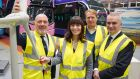 Energia Group CEO Ian Thom, Northern Ireland minister for Infrastructure Nichola Mallon, Wrightbus chairman Jo Bamford and Translink CEO Chris Conway, at the press announcement of its partnership with Translink to supply hydrogen to public buses in Belfast.