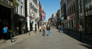 A quiet Grafton Street in Dublin city centre  due to  Covid-19. Photograph: Gareth Chaney/Collins