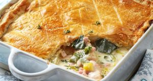 Shane Smith's chicken, bacon and leek pie