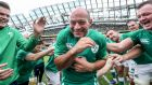 Rory Best gets a send-off from fellow Irish players after his final game for Ireland at the Aviva Stadium, the World Cup warm-up against Wales in September 2019. Photograph: Dan Sheridan/Inpho