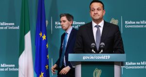 Minister for Health Simon Harris and Taoiseach Leo Varadkar at the Covid-19 briefing at Government Buildings on Tuesday. Photograph: Steve Humphreys