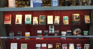 The Chantelivre bookshop in the rue de Sèvres has window display of 36 books about hospitals, epidemics and quarantine. Photograph: Tala Skari