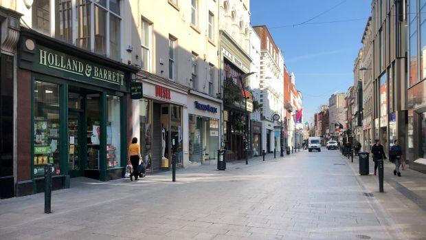 Grafton Street practically deserted on Wednesday due to Covid-19 restrictions. Photograph: Bryan O'Brien