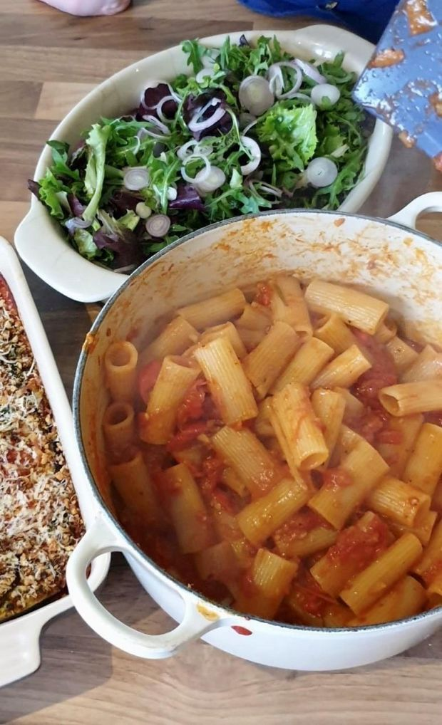 Kieran Glennon's two meals in one: aubergine parmigiana with a crumble topping and rigatoni for the next day, made with the extra tomato sauce