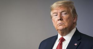 US president Donald Trump. The sudden stop of the US economy has several economists predicting gross domestic product will shrink in the second quarter by the most in quarterly records dating back to 1947.  Photograph: Bloomberg