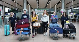 Doctors Aoife Page, Luke Hughes, Rachel Kearns, Hilary Coyle, Deirdre Ryan and Eva Tallon arrive back in Dublin Airport from Perth, Australia.  Photograph: Crispin Rodwell/The Irish Times