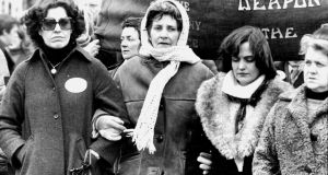 Betty Williams, Kate O'Callaghan of Limerick Peace Group and Mairéad Corrigan in a peace march in 1978. Photograph: Peter Thursfield