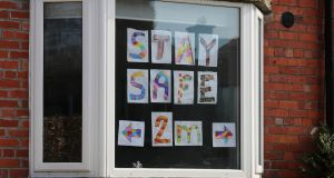 Window art creations are beginning to appear as parents home school their children during the coronavirus crisis. Photograph: Nick Bradshaw/The Irish Times.