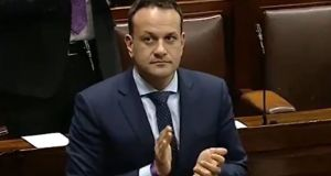 The Taoiseach claps with other TDs in the Dáil on Thursday night in appreciation of healthcare workers. Image: Oireachtas TV