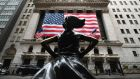 The Fearless Girl statue in front of the New York Stock Exchange. The S&P 500 soared by 9.4 per cent  on Tuesday despite the bear market. Photograph: Angela Weiss/AFP via Getty Images