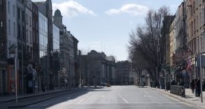 An empty Westmoreland St in Dublin city centre during the week. Photograph: Conor Pope