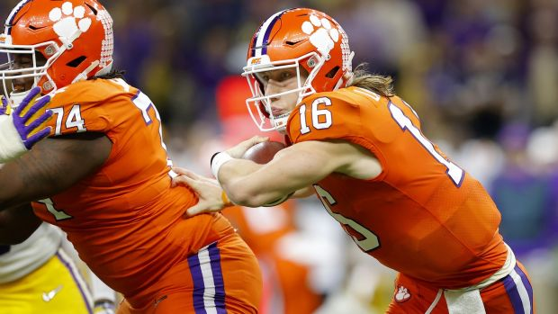 Could Clemson Tigers quarterback Trevor Lawrence be the long-term replacement for Tom Brady? Photograph: Kevin C Cox/Getty