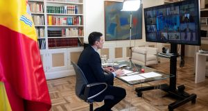 Spanish prime minister Pedro Sanchez warned in an EU Sumit video conference that failure to achieve solidarity on a financial rescue package could imperil the EU itself. Photograph: Borja Puig De La Bellacasa/EPA