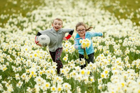 DAFFODIL DAY: Anna and Hayeligh Crombie from Tullamore, Co Offaly, enjoying daffodil day. Photograph: James Crombie/INPHO