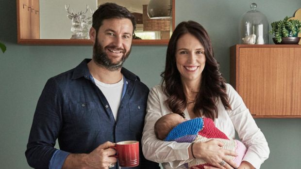 New Zealand PM Jacinda Ardern with her family in their home in Auckland. She is among the leaders who have spoken clearly and honestly about the coronavirus crisis. Photograph: Derek Henderson/Jacinda Ardern via AP