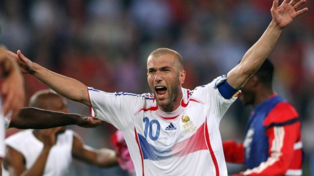France midfielder Zinedine Zidane celebrates at the end of the World Cup 2006 round of 16 football game against Spain on June 27th, 2006 at Hanover stadium. Photograph: Getty Images