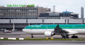 The Aer Lingus flight carrying equipment from China arrives at Dublin Airport. Photo: Tom Honan