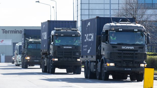 Trucks carrying the cargo of personal protective equipment (PPE) leaving Dublin Airport on Sunday. Photograph: Tom Honan/The Irish Times