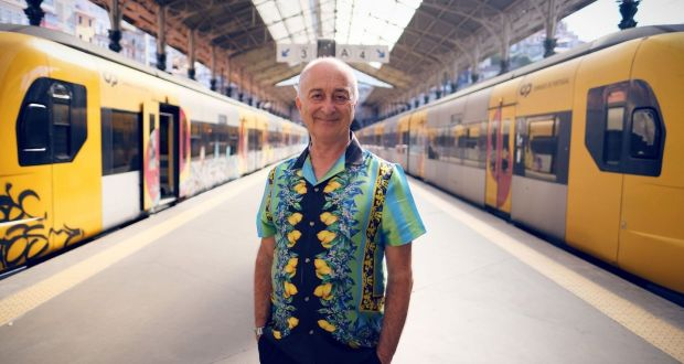 'It's a celebration of life, of other people': Tony Robinson at Sao Bento train station, in Porto, for Around the World by Train. Photograph: Rumpus Media/Channel 5