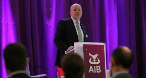 AIB chief executive Colin Hunt: Bank is holding its agm in April via conference call from its headquarters. Photograph: Nick Bradshaw