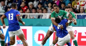 Bundee Aki high tackles Ulupano Seuteni during the Rugby World Cup match between Ireland and Samoa. Photo: Dan Sheridan/Inpho