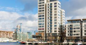 Millenium Tower in Dublin's Docklands where an attractive  two-bedroom, one-bathroom corner unit on the 10th floor is now available.