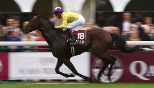 Mick Kinane on board Sea The Stars on the way to winning the 2009  Prix de L'Arc de Triomphe. Photograph: Inpho/Getty Images