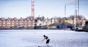 A man goes stand up paddleboarding at  Grand Canal Dock, Dublin.Photograph: Tom Honan