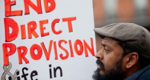 A protester demonstrating against direct provision in 2017. File photograph: Tom Honan