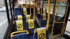 Dublin Bus Seat signage to promote social distancing on a Dublin Bus bus on Tuesday. Photograph: Nick Bradshaw