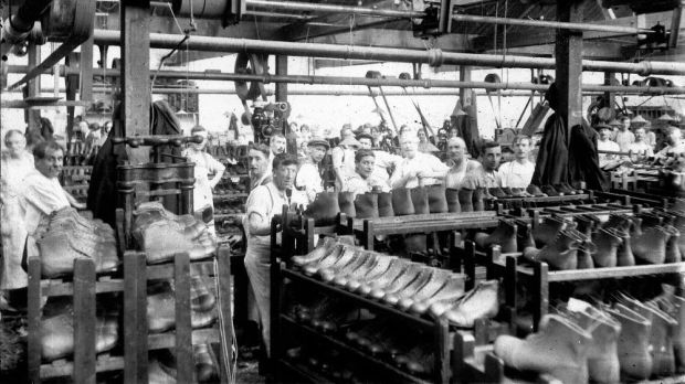 The Griggs family's Cobb's Lane factory in Northamptonshire, 1930s. Photograph: Courtesy of Dr Martens