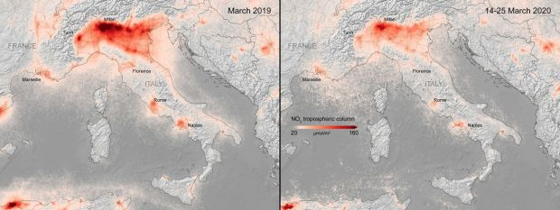 The average nitrogen dioxide concentrations from air pollution across Italy in March 2019 (left), and March 14th-25th this year. Photograph: ESA/Handout via Reuters