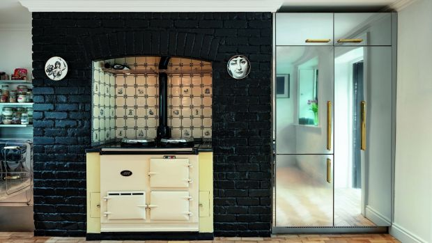 Italian kitchen firm Abimis's mirror-finished cupboard doors