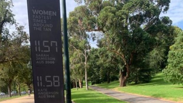 The women's record times for The Tan are displayed at the Botanical Gardens in Melbourne. Photograph: Riley Wolff